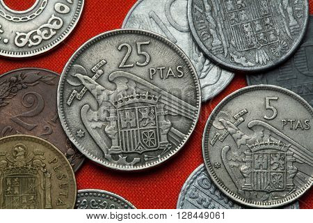 Coins of Spain under Franco. Coat of arms of Spain under Franco depicted in the Spanish 25 peseta coin (1957).