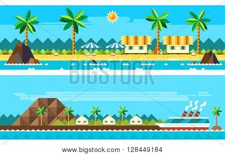 Flat design of summer paradise beach illustration vector