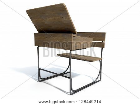 Vintage School Desk Open Empty