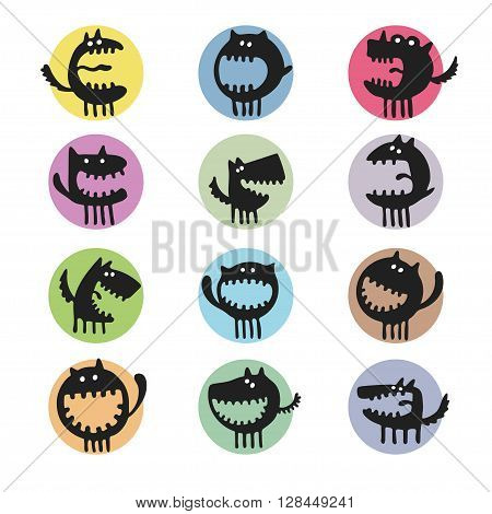 vector set of cartoon cute monsters. Abstract.