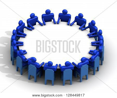 Congress. Conference. Meeting. Symbolic people sitting at a round table for meetings. Isolated. 3D Illustration
