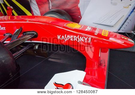Montreal, Canada - June 05, 2015: Formula 1 cars exposition on Crescent street in Montreal a day before the real competition.All  sport cars brands are there-Ferrari team.