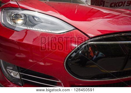 Montreal, Canada - June 05, 2015: Formula 1 cars exposition on Crescent street in Montreal a day before the real competition.All  sport cars brands are there-tesla team.