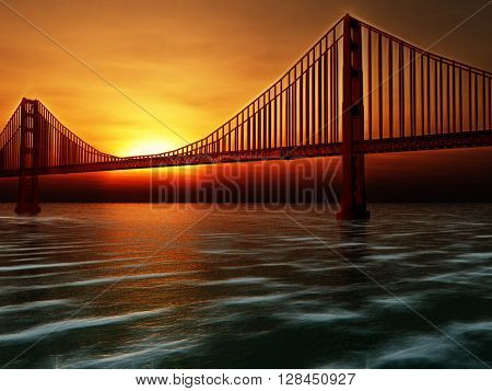Golden Gate Bridge Painterly Illustration 3D Render