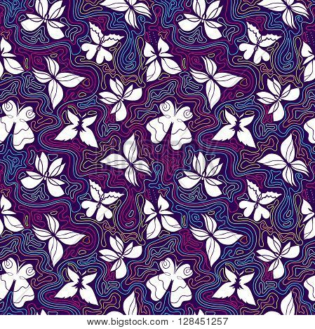 Butterfly seamless pattern colorful background with white butterflies and color curly lines butterflies vector Eps 8