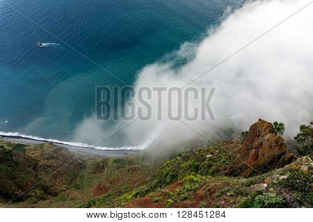 Cabo Girao is a lofty sea cliff located along the southern coast of the island of Madeira