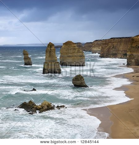 Twelve Apostles rock formation on coastline as seen from the Great Ocean Road, Australia.
