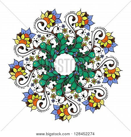Abstract floral doodle background pattern. A circular ornament. Color vector illustration