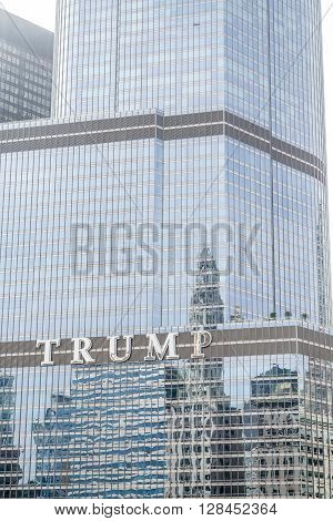 CHICAGO ILLINOIS - May 4 2016: Donald Trump Becomes the presumptive GOP nominee for the office of the President of the United States