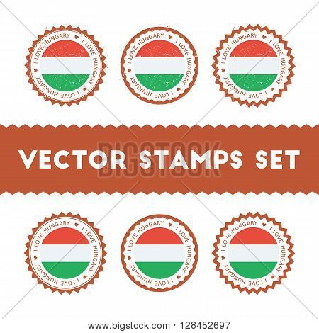 I Love Hungary Vector Stamps Set. Retro Patriotic Country Flag Badges. National Flags Vintage Round