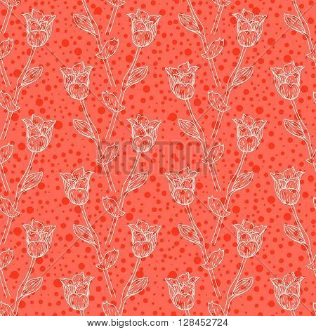 Seamless pattern with tulips branches. Pencil sketch collection vector illustration. Hand drawn floral print for summer spring fashion textile. Tiling background with flowers, vines and leaves in red