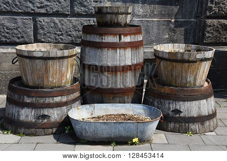 Old Wooden Buckets Or Barrel For Exterior