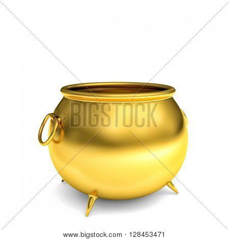 3d image of golden pot on white