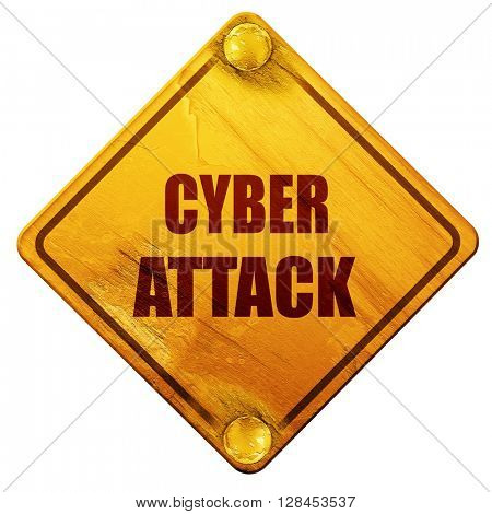 Cyber attack background, 3D rendering, isolated grunge yellow ro