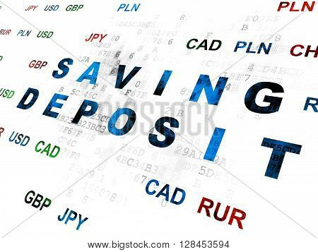 Currency concept: Pixelated blue text Saving Deposit on Digital wall background with Currency