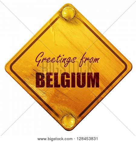 Greetings from belgium, 3D rendering, isolated grunge yellow roa