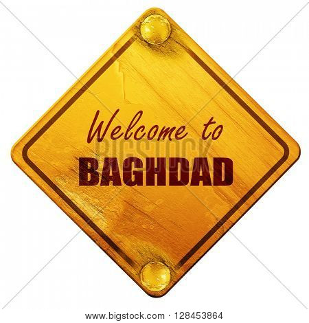 Welcome to baghdad, 3D rendering, isolated grunge yellow road si