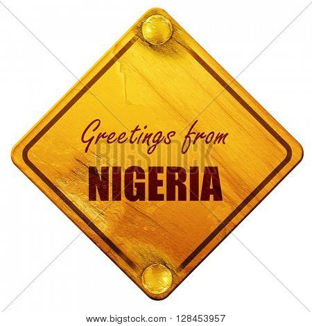 Greetings from nigeria, 3D rendering, isolated grunge yellow roa