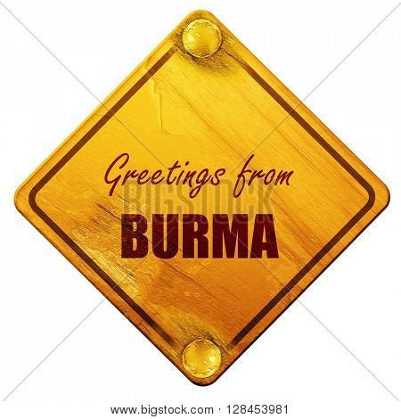 Greetings from burma, 3D rendering, isolated grunge yellow road