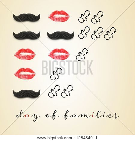 examples of different families depicted with mustaches, red lips and pacifiers, as men, women and children, and the text day of families