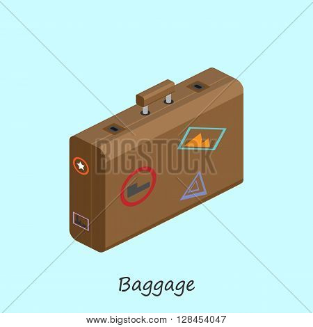 luggage for things when traveling. Vector isometric illustrations.