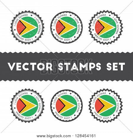I Love Guyana Vector Stamps Set. Retro Patriotic Country Flag Badges. National Flags Vintage Round S