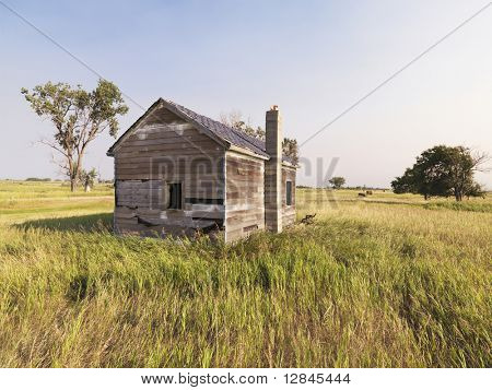 Dilapidated wooden house in rural field.