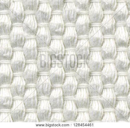 Seamless texture coarse woven fabric, white color, dense weave