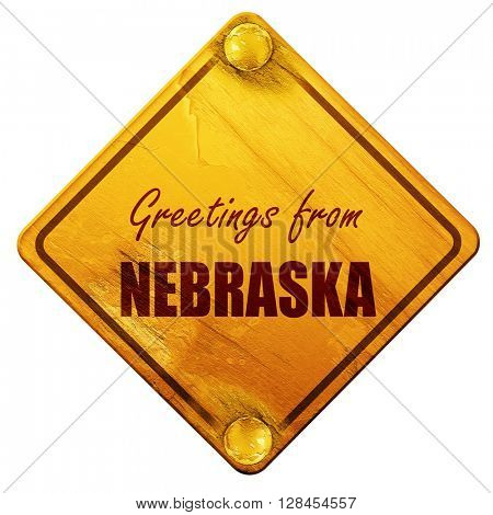 Greetings from nebraska, 3D rendering, isolated grunge yellow ro