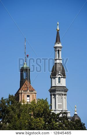 Steeple of the Cathedral of the Blessed Sacrament in Sacramento, California, USA.