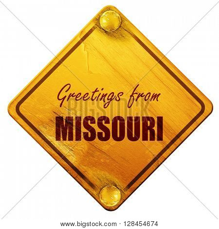 Greetings from missouri, 3D rendering, isolated grunge yellow ro