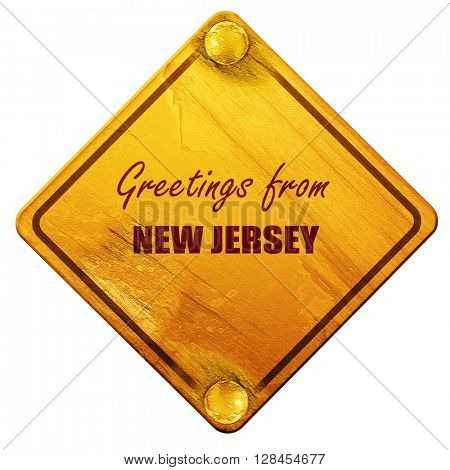 Greetings from new jersey, 3D rendering, isolated grunge yellow