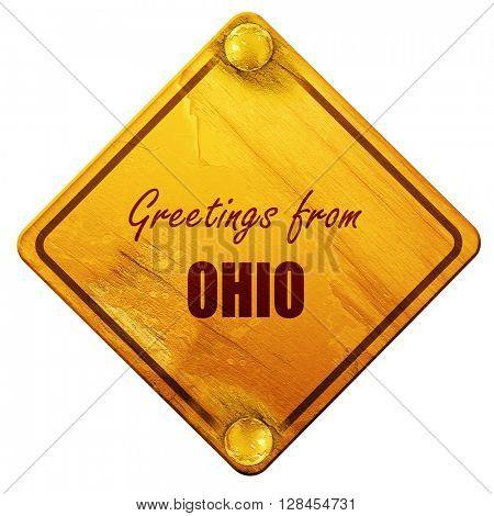 Greetings from ohio, 3D rendering, isolated grunge yellow road s
