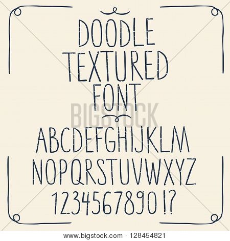 Hand drawn decorative set of sketchy textured ABC letters and figures. Hand drawn fonts for your design.
