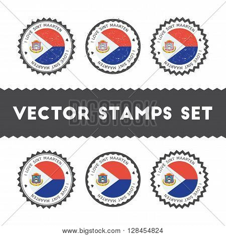 I Love Sint Maarten Vector Stamps Set. Retro Patriotic Country Flag Badges. National Flags Vintage R