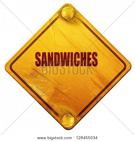 Delicious sandwich sign, 3D rendering, isolated grunge yellow ro