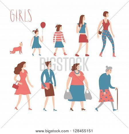 Set of cartoon girls in various lifestyles and ages. Including baby child teenager lady senior businesswoman. Characters illustrations for your design.