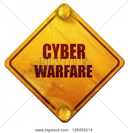 Cyber warfare background, 3D rendering, isolated grunge yellow r