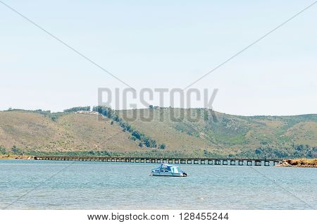 KNYSNA SOUTH AFRICA - MARCH 3 2016: The historic railway bridge over the Knysna Lagoon