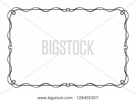 Decorative black rectangular frame for menu, invitation.