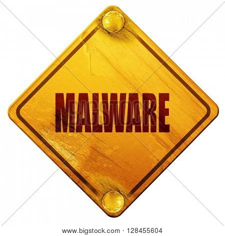 Malware computer background, 3D rendering, isolated grunge yello