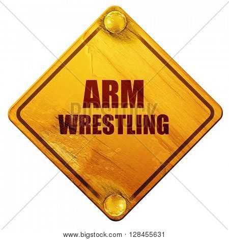 arm wrestling sign background, 3D rendering, isolated grunge yel