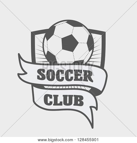 Football Or Soccer Logo, Label Or Emblem Template With Ball On Shield And Ribbon