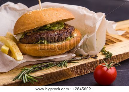 Gourmet Homemade Burger With Garnish