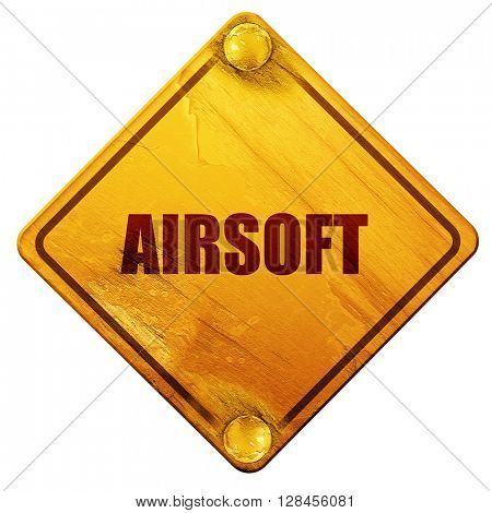 airsoft sign background, 3D rendering, isolated grunge yellow ro