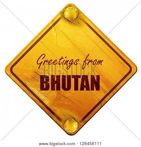 Greetings from bhutan, 3D rendering, isolated grunge yellow road