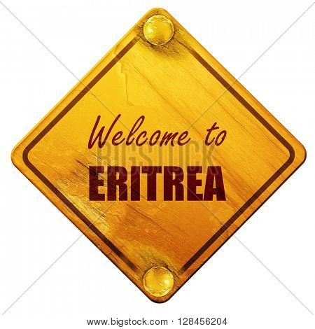 Welcome to eritrea, 3D rendering, isolated grunge yellow road si