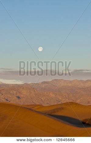Sun And Moon Rise Over Death Valley