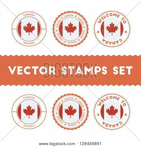 Canadian Flag Rubber Stamps Set. National Flags Grunge Stamps. Country Round Badges Collection.