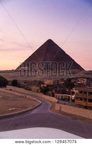 The Great Pyramid of Giza at sunset.